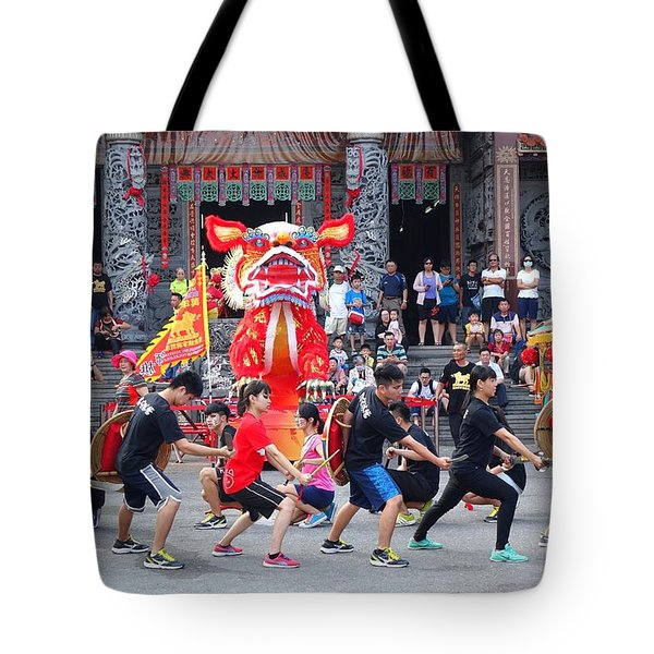 Tote Bag featuring the photograph Religious Martial Arts Performance In Taiwan by Yali Shi