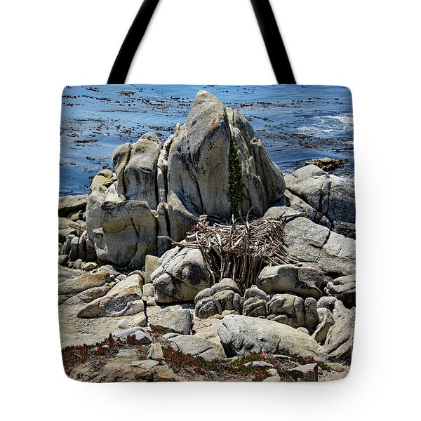 Tote Bag featuring the photograph Remains Of Ancient Rocks At Carmel Point by Susan Wiedmann