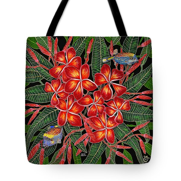 Tropical Fish Plumerias Tote Bag