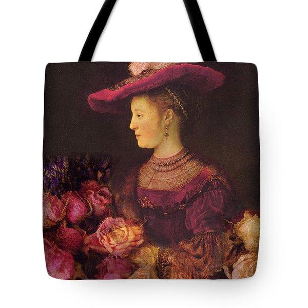 Rembrandt Saskia Van Uylenburgh Antique Pink Roses Tote Bag