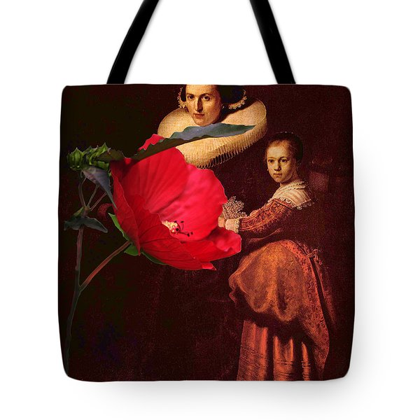 Rembrandt Susanne Van Collen And Her Daughter Anna With A Red Flower Tote Bag