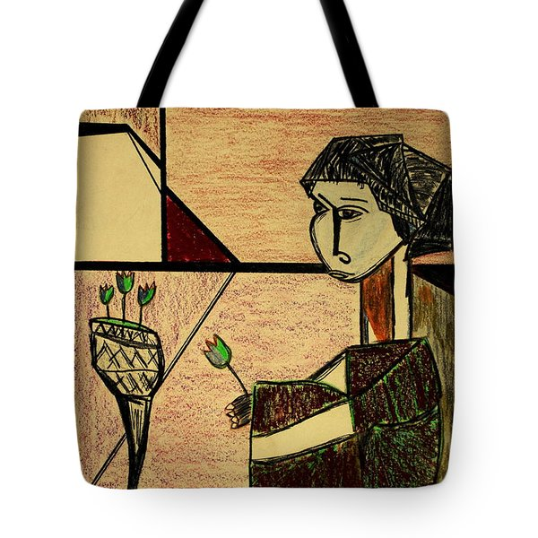 Tote Bag featuring the drawing Remembering by Bill OConnor