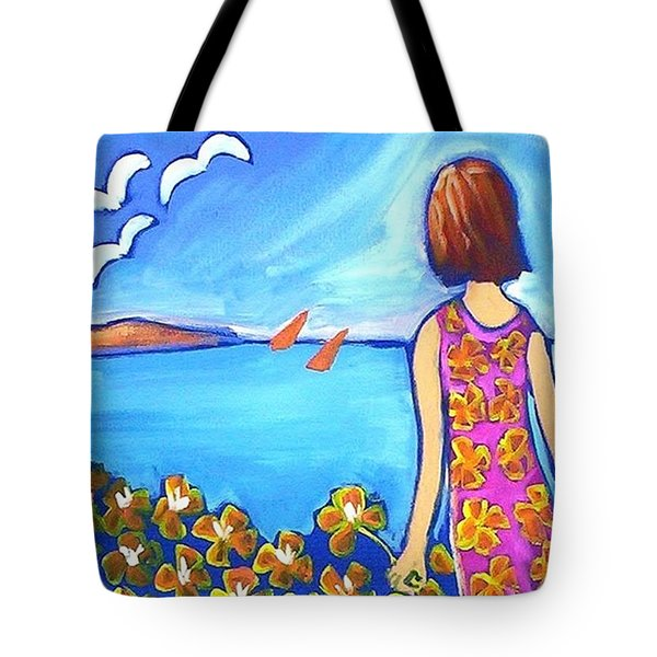 Tote Bag featuring the painting Remembering Joy by Winsome Gunning