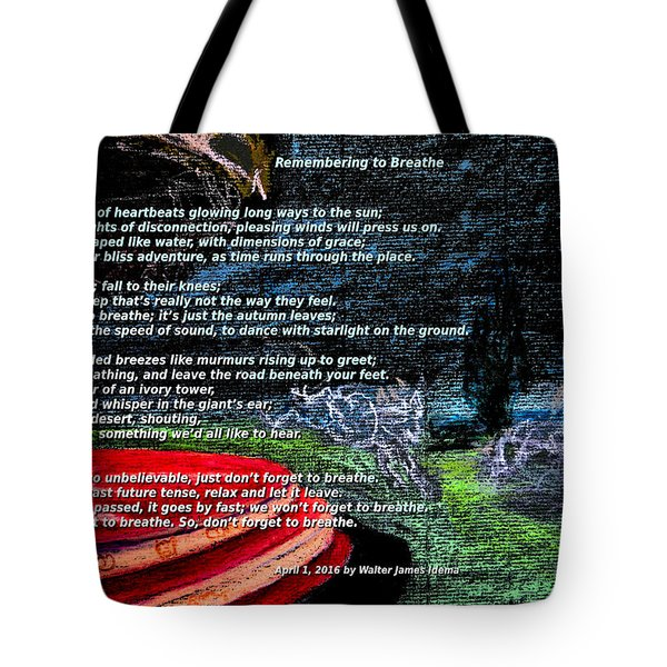 Remembering To Breathe Tote Bag