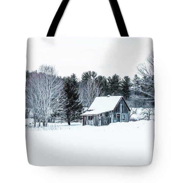 Tote Bag featuring the photograph Remote Cabin In Winter by Edward Fielding
