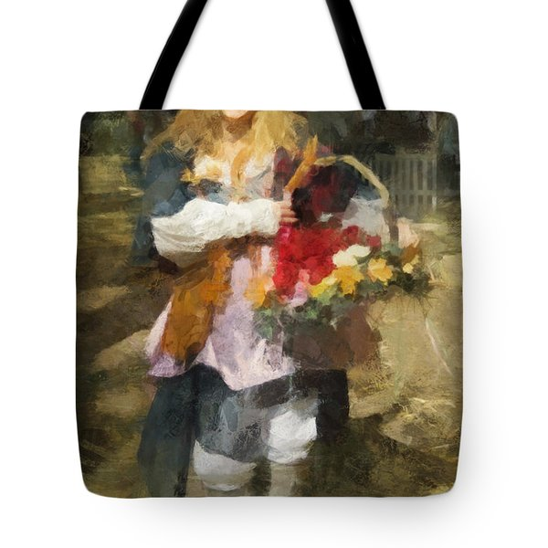 Tote Bag featuring the digital art Renaissance Flower Lady by Francesa Miller
