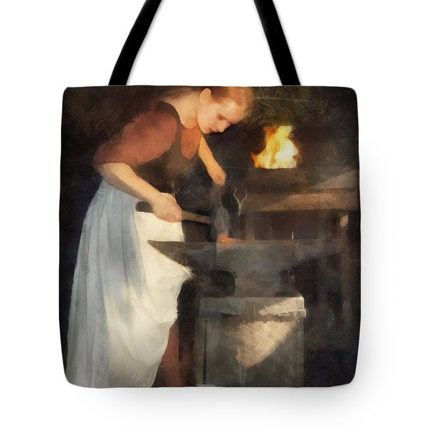 Tote Bag featuring the digital art Renaissance Lady Blacksmith by Francesa Miller