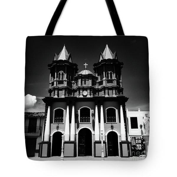 Replica Church In El Penol Tote Bag