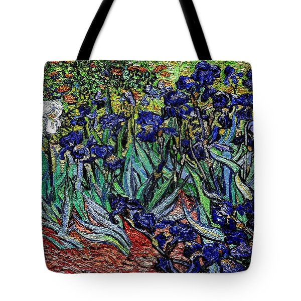 Tote Bag featuring the digital art replica of Van Gogh irises by Pemaro