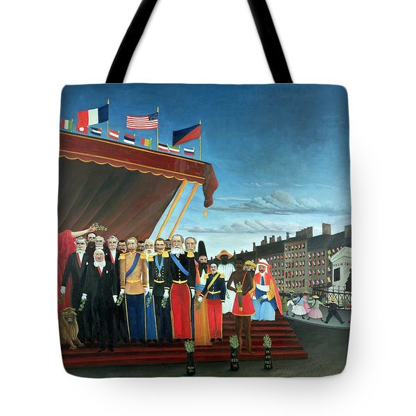 Representatives Of The Forces Greeting The Republic As A Sign Of Peace Tote Bag by Henri Rousseau