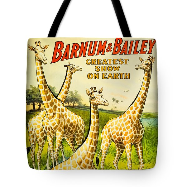 Reproduction Of Vintage Ringling Bros And Barnum And Bailey Circus Poster Featuring Giraffes Tote Bag by MMG Archives