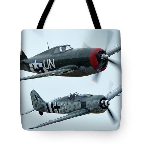 Republic P-47g Thunderbolt Nx3395g Focke Wulf Fw 190a-9 N190rf Chino California April 30 2016 Tote Bag by Brian Lockett