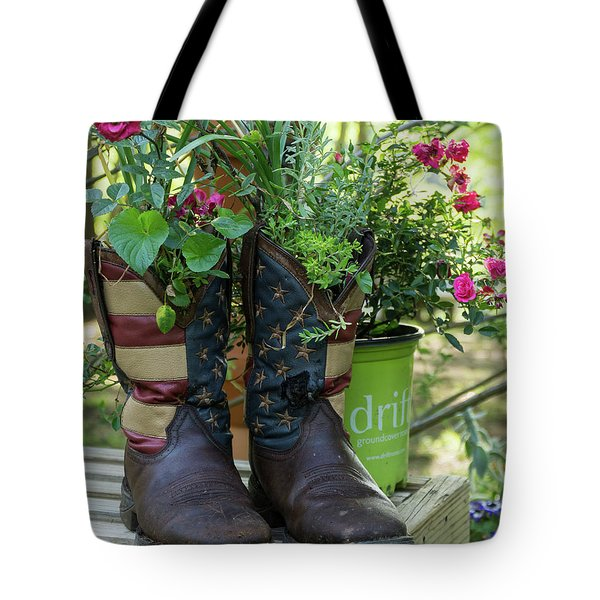 Repurposed Cowboy Boots Tote Bag by Jerry Gammon