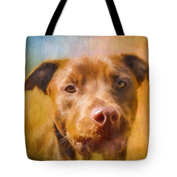 Rescued Chocolate Lab Portrait Tote Bag