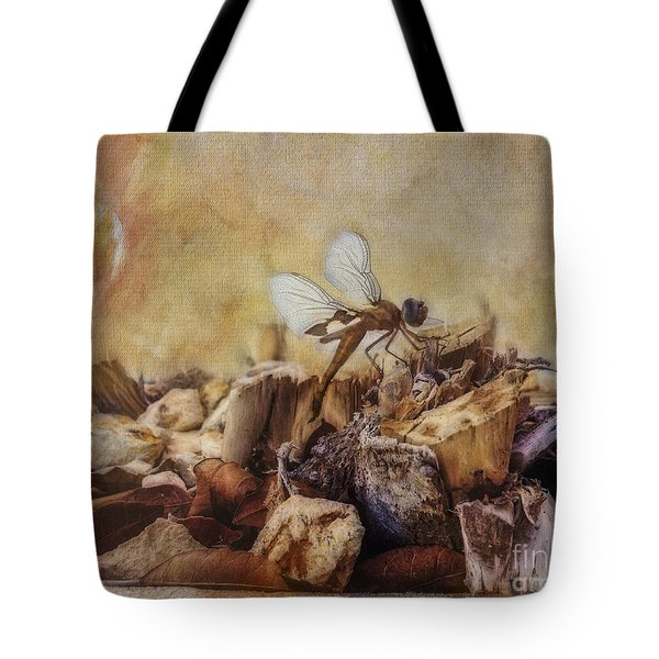Tote Bag featuring the digital art Respite Of The Mosquito Hawk by Rhonda Strickland