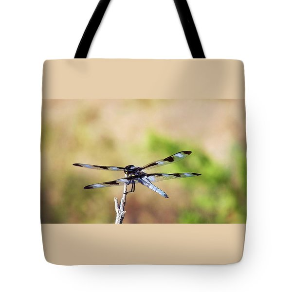 Rest Area, Dragonfly On A Branch Tote Bag