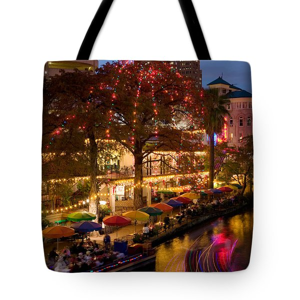 Restaurant Along A River Lit Tote Bag