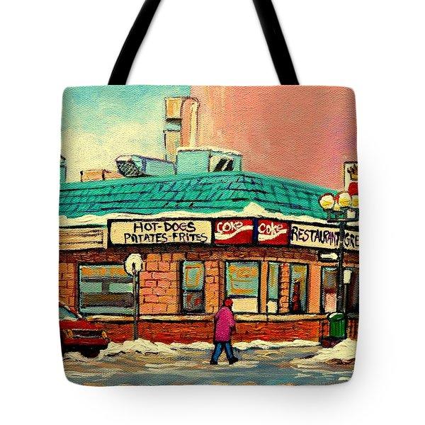 Restaurant Greenspot Deli Hotdogs Tote Bag by Carole Spandau