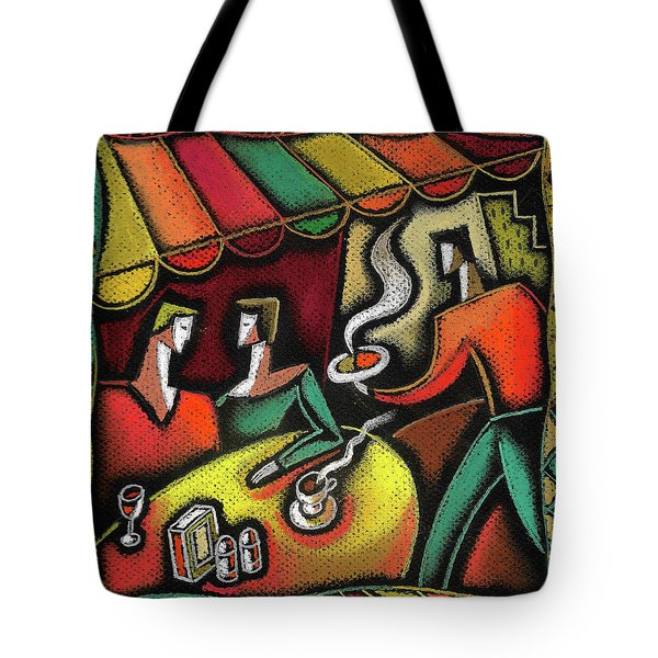 Tote Bag featuring the painting Restaurant by Leon Zernitsky