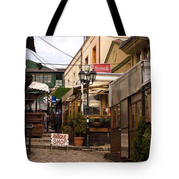 Restaurants In The Bazaar Tote Bag by Rae Tucker