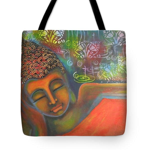Buddha Resting Against A Colorful Backdrop Tote Bag
