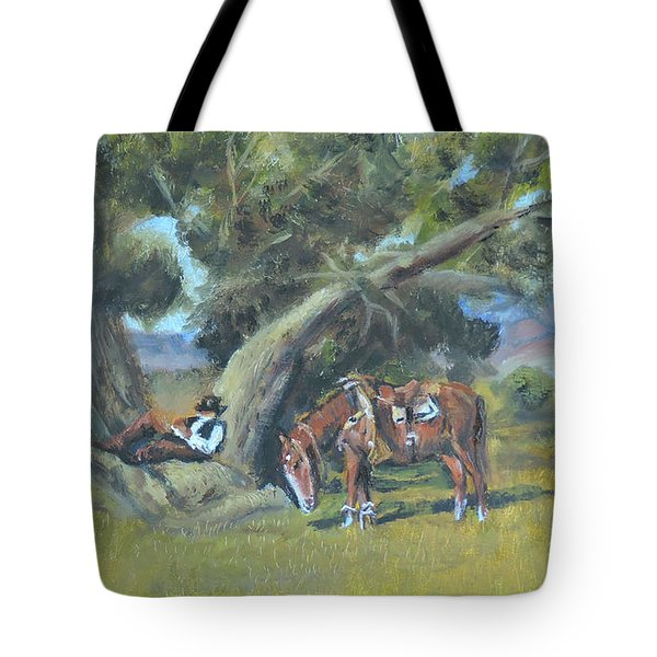 Tote Bag featuring the painting Resting Cowboy Painting A Study by  Luczay