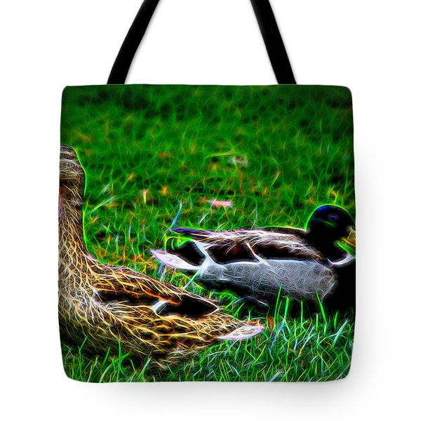 Tote Bag featuring the photograph Resting Ducks by Mariola Bitner