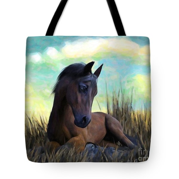 Tote Bag featuring the painting Resting Foal by Sandra Bauser Digital Art