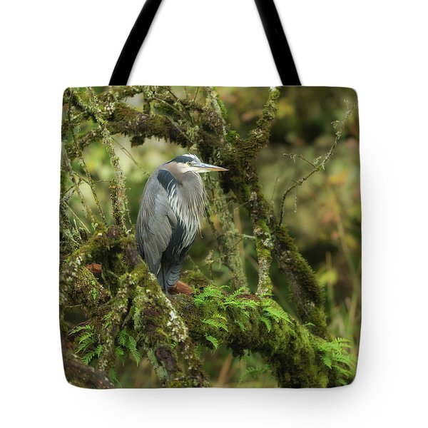 Tote Bag featuring the photograph Resting Great Blue Heron by Angie Vogel