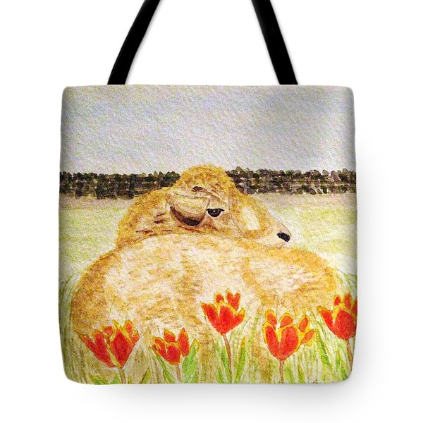 Resting In The Tulips Tote Bag by Angela Davies