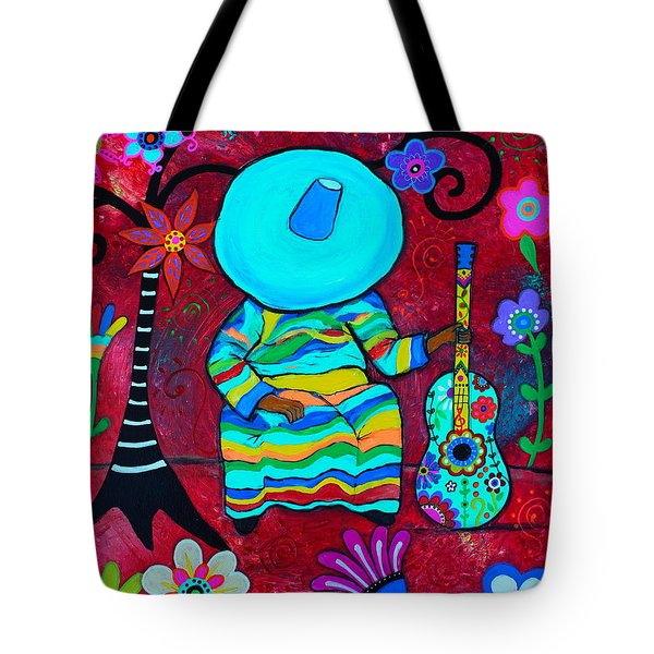 Tote Bag featuring the painting Resting Mariachi by Pristine Cartera Turkus
