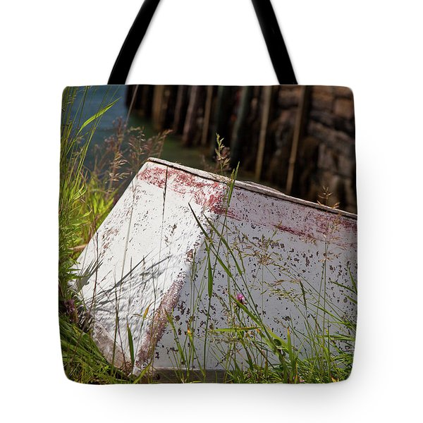 Tote Bag featuring the photograph Resting Rowboat by Susan Cole Kelly