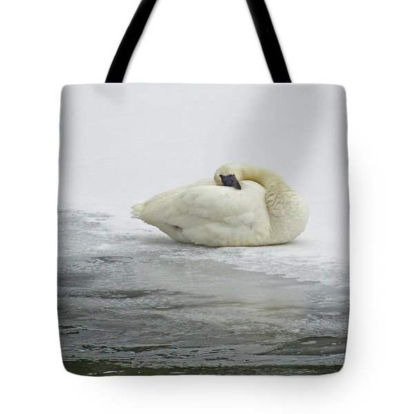 Resting Swan-signed-#1314 Tote Bag by J L Woody Wooden