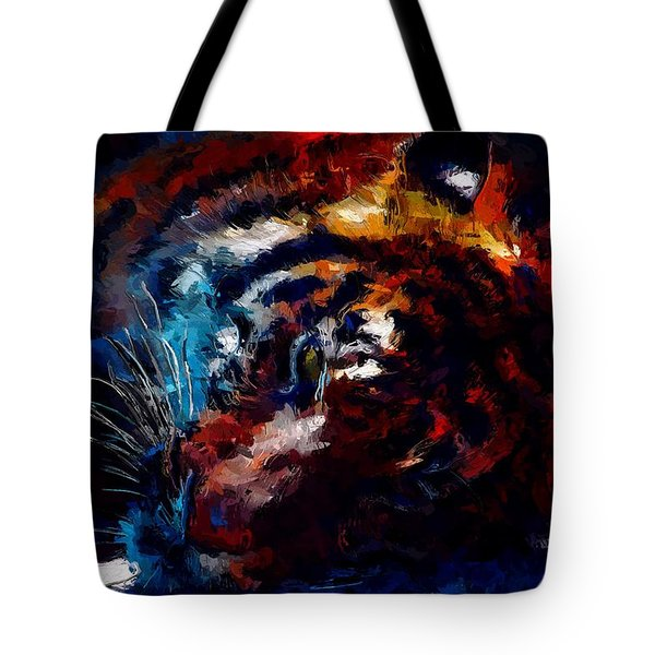 Tote Bag featuring the painting Resting Tiger by Mark Taylor