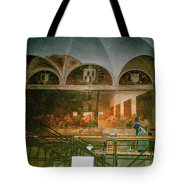 Tote Bag featuring the photograph Restoring Divinci's Last Supper - Milan, Utaly by Merton Allen