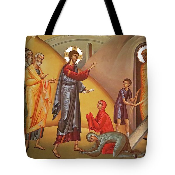 Tote Bag featuring the painting Resurrection Of Lazarus by Munir Alawi