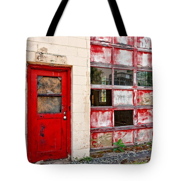 Tote Bag featuring the photograph Retired Garage by Christopher Holmes