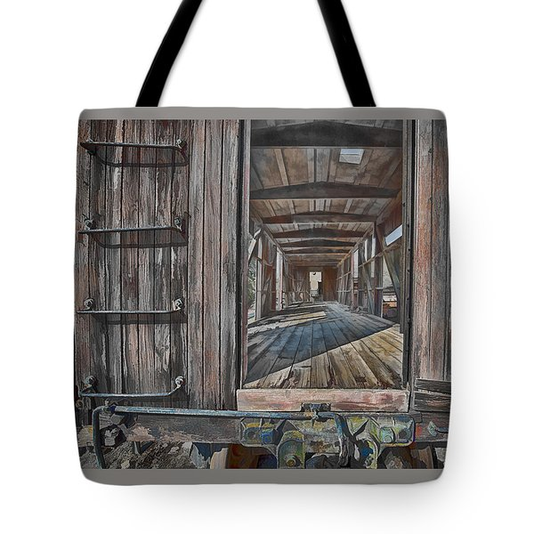 Tote Bag featuring the photograph Retired Train Car Jamestown by Steve Siri