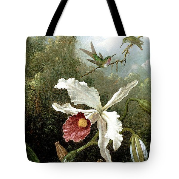 Retouched Masters - Orchid And Hummingbirds In Tropical Forest Tote Bag