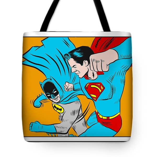 Tote Bag featuring the digital art Retro Batman V Superman by Antonio Romero