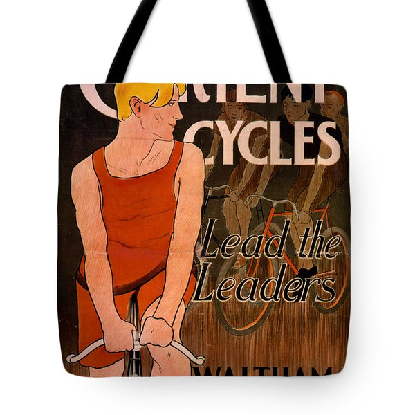 Tote Bag featuring the photograph Retro Bicycle Ad 1890 by Padre Art