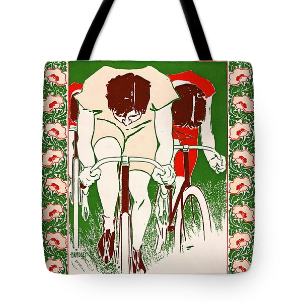 Tote Bag featuring the photograph Retro Bicycle Poster 1895 by Padre Art