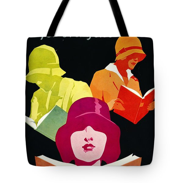 Tote Bag featuring the photograph Retro Books Poster 1929 by Padre Art