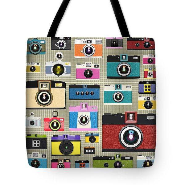 Retro Camera Pattern Tote Bag by Setsiri Silapasuwanchai