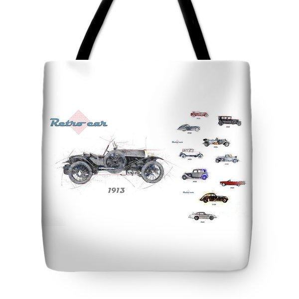 Retro Car In Sketch Style Tote Bag