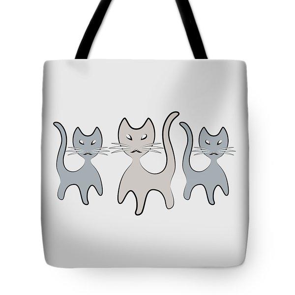 Retro Cat Graphic In Grays Tote Bag