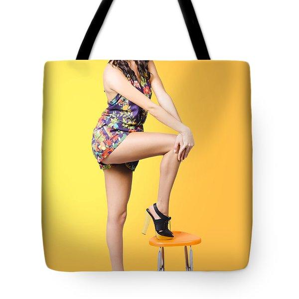 Retro Fashion Image. Woman Posing As A Pin-up Girl Tote Bag