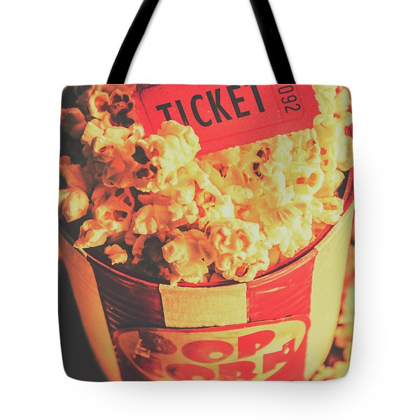 Retro Film Stub And Movie Popcorn Tote Bag