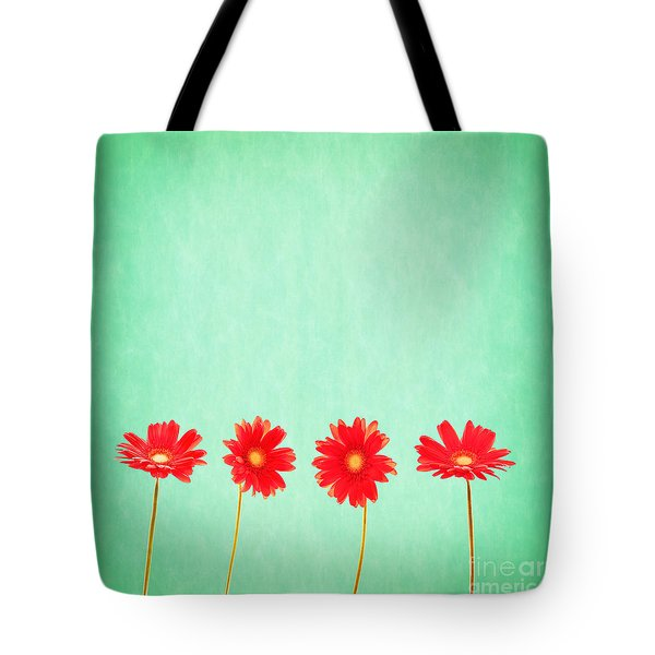 Retro Flowers Tote Bag by Delphimages Photo Creations