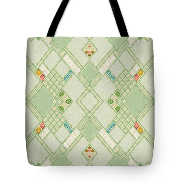 Tote Bag featuring the digital art Retro Green Diamond Tile Vintage Wallpaper Pattern by Tracie Kaska